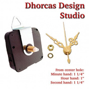 Dhorcas (#17) 1.3cm Threaded Motor and Gold 3.2cm Hands and Hanger, Quartz Clock Movement Kit for Replacement