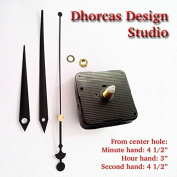 Dhorcas (#06) 1.3cm Threaded Motor and Black 11cm Hands, Quartz Clock Movement Kit for Replacement
