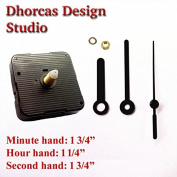 Dhorcas (#11) 1.3cm Threaded Motor and Black 4.4cm Hands, Quartz Clock Movement Kit for Replacement