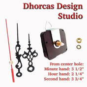 Dhorcas (#16) 1.3cm Threaded Motor and Black 8.9cm Hands and Hanger, Quartz Clock Movement Kit for Replacement