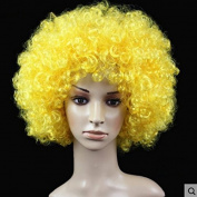 Yellow Anime Festival Cosplay Hair for Show Party Cosers Wig Fans Curly Explosion Hair Round Clown