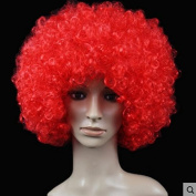 Red Anime Festival Cosplay Hair for Show Party Cosers Wig Fans Curly Explosion Hair Round Clown