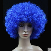 Navy Blue Anime Festival Cosplay Hair for Show Party Cosers Wig Fans Curly Explosion Hair Round Clown