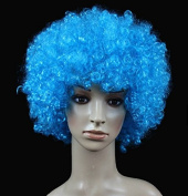 Blue Anime Festival Cosplay Hair for Show Party Cosers Wig Fans Curly Explosion Hair Round Clown