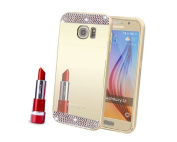 Samsung Galaxy S6 Edge Case,Inspirationc® Beauty Luxury Diamond Hybrid Glitter Bling Soft Shiny Sparkling with Glass Mirror Back Plate Cover Case for Samsung Galaxy S6 Edge--Gold