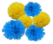 HEARTFEEL 6pcs Tissue Paper Pom Poms Flower Ball Hanging Pom for Wedding Party Outdoor Decoration Bridal Shower Party Baby Shower