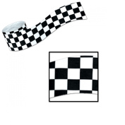 Club Pack of 12 Race Track Themed Black and White Chequered Party Streamers 9.1m