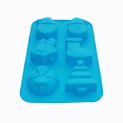 X-Haibei Christmas Bell Stocking Santa Claus Gift Soap Mould Muffin Chocolate Silicone Pan