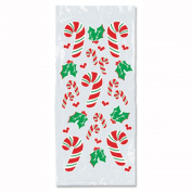 Club Pack of 300 Christmas Candy Cane and Holly Cello Bags 10cm x 23cm