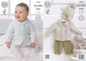 King Cole Double Knitting Pattern Baby Shawl or Flat Collar Jackets & Hat Easy Knit Smarty DK