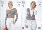 King Cole Ladies Double Knitting Pattern Womens Cable Knit Cardigan & Waistcoat Drifter DK