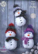 King Cole Tinsel Chunky Easy Knit Knitting Pattern for Snowman Christmas Toys 3 Sizes