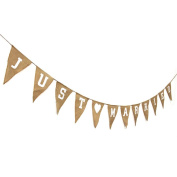Rustic Wedding Garland Natural Hessian Burlap Just Married Bunting Party Banner Photo Props
