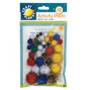 Craft Planet Glitter Pompoms Pack Of 42 Multi-Colour