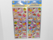 Shiny Foil Cupcake and Dessert Stickers - 2 Pack Bundle