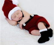 Soft Crochet Knit Baby Photograph Props,cute Baby Xmas Outfits,hat + Cloth + Shoes,