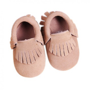 Tan Suede Baby Moccasins - Infant Pre-walker Crib Shoe (6-12 month