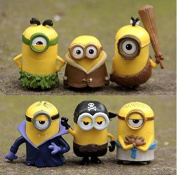 2015 New 6pcs/lot Minions New Model Cosplay Vampire & Primitive & Pirate 6cm Minion Action Figure Toys