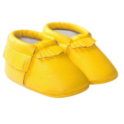 TANGDA Infant Baby Toddler Newborn Leather Soft Sole Tassel Pre-Walkers Shoes Moccasins Slip-on Crib Shoes Yellow Size 11