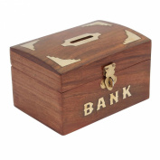 Craft Art India Brown Handmade Wooden Rectangular Money Bank / Piggy Bank / Coin Box