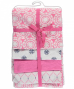 "Hudson Baby ""Intricate Wheels"" 4-Pack Receiving Blankets - pink/multi, one size"