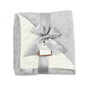 MEG Original Minky Dot Baby Blanket, Ivory & Grey, 973