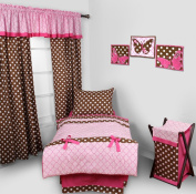 Butterfliers rosa / chocolate de 4 pc Toddler Bedding Set