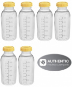 Medela Breastmilk Collection Storage Feeding Bottle Set with Lids (6 Bottles and 6 Lids) W/lid 8oz /250ml