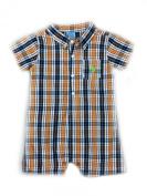 Us Polo Assn Baby Boys Orange Plaid Button Down Romper 3/6 Months