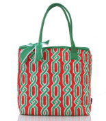 vine print quilted shopping tote