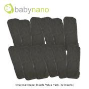 Bamboo Charcoal Cloth Nappy Value Insert Pack (12 Inserts) - Babynano