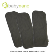 Bamboo Charcoal Cloth Nappy Insert Tester Pack (3 Inserts) - Babynano