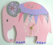 Nursery Elephant Wall Clock, Elephant Hanging Wall Clock, Nursery Wall Clock, Nursery Clock