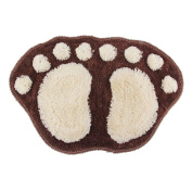 Bath pad door floor mat bathroom mini rug water-absorbing big feet mat 60X40CM S coffee