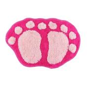 Bath pad door floor mat bathroom mini rug water-absorbing big feet mat 60X40CM S pink