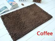 40x60cm Bathroom Door Floor Mat Rug Soft Shaggy Bath Carpet Chenille Mat F1R coffee
