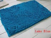 40x60cm Bathroom Door Floor Mat Rug Soft Shaggy Bath Carpet Chenille Mat F1R lake blue