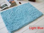 40x60cm Bathroom Door Floor Mat Rug Soft Shaggy Bath Carpet Chenille Mat F1R light blue