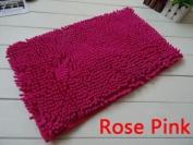 40x60cm Bathroom Door Floor Mat Rug Soft Shaggy Bath Carpet Chenille Mat F1R rose pink