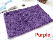 40x60cm Bathroom Door Floor Mat Rug Soft Shaggy Bath Carpet Chenille Mat F1R purple