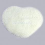 Soft Heart Fluffy Mat Rug Bedroom Faux Fur Carpet Floor Cover Decor Beige