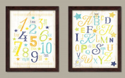 Popular, Adorable Alphabet and Number Star Whale and Elephant Framed Set; Nursery or Kids Room Decor; Two 28cm x 36cm White Framed Prints. Cream/Teal/Brown/Yellow/Blue