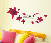 Red Flowers Fairy Angel and English Letters Wall Decal Home Sticker House Decoration WallPaper Removable Living Dinning Room Bedroom Kitchen Art Picture Murals DIY Stick Girls Boys kids Nursery Baby Playroom Decoration PP-AY647