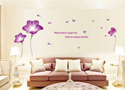 Purple Lily Flowers Butterflies English Letters Wall Decal Home Sticker House Decoration WallPaper Removable Living Dinning Room Bedroom Kitchen Art Picture Murals DIY Stick Girls Boys kids Nursery Baby Playroom Decoration PP-AY9167