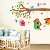Green Leaves Tree Birds Colourful Birdcages Wall Decal Home Sticker House Decoration WallPaper Removable Living Dinning Room Bedroom Kitchen Art Picture Murals DIY Stick Girls Boys kids Nursery Baby Playroom Decoration PP-JM7222