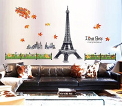 Romantic Paris Eiffel Tower Buildings Maple Leaves Wall Decal Home Sticker House Decoration WallPaper Removable Living Dinning Room Bedroom Kitchen Art Picture Murals DIY Stick Girls Boys kids Nursery Baby Playroom Decoration PP-MJ9503