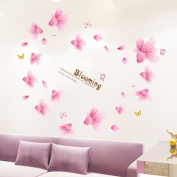 Pink Lily Flowers Wall Decal Home Sticker House Decoration WallPaper Removable Living Dinning Room Bedroom Kitchen Art Picture Murals DIY Stick Girls Boys kids Nursery Baby Playroom Decoration PP-AM7009