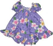 RJC Baby Girl's Cute Plumeria Puff Sleeve Hawaiian 2 Piece Dress Set