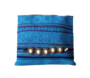Khum Wieng Kham Women's Blue Clutch Bag Wristlet Tribal Patterned Candle Fabric Handbag Foldable Scalable