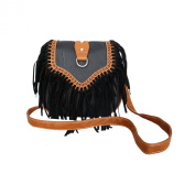 FakeFace Womens Hippie Suede Retro Vintage Tribal Fringe Tassel PU Leather Shoulder Bag Messenger Crossbody Handbag